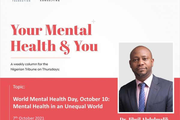 World Mental Health Day October 10: Mental Health in an Unequal World